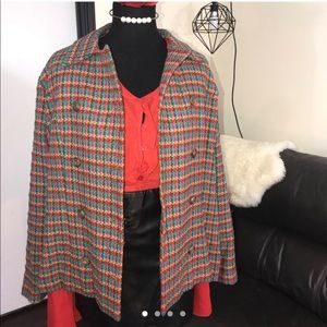 Vintage multi color plaid blazer